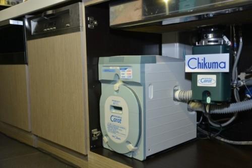 Chikuma廚餘魔法師其獨家專利科技使其能成 為全球唯一能與流理台一體 化的廚下型廚餘機