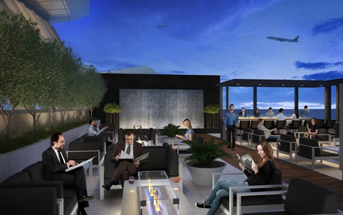 Star Alliance Lounge LAX outdoor terrace evening 2392012