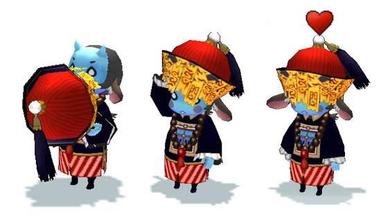 03 清朝古裝造型的「殭屍寶寶」寵物限時推出,五短身材的它拿下貼滿道符的烏紗帽後,是尊邪惡又古錐的「山羊惡魔」喔!
