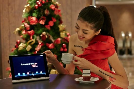 Lenovo聯想新聞圖說二】Yoga Tablet長效平板標新「立」異 ,纖薄洗鍊外型獨具圓柱設計,時尚如影隨形。