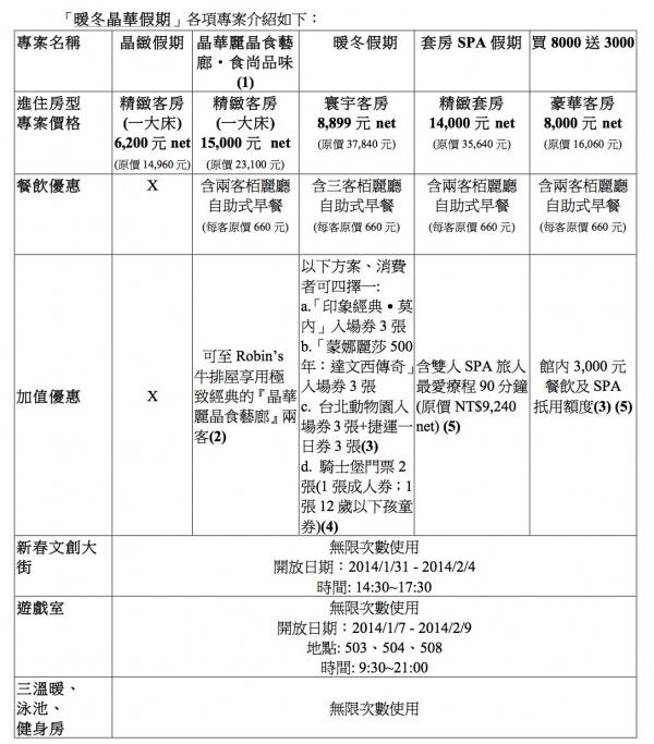 20131228晶華酒店暖冬假期住房專案(2014) LETTERHEAD