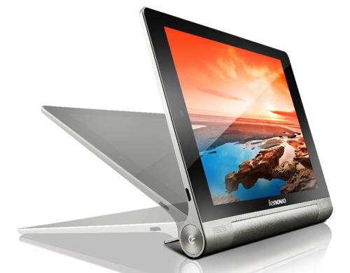 Lenovo聯想新聞圖說一-Lenovo Yoga Tablet具特殊圓柱形設計,可提供高達18小時的長效電力,自有支架更可提供三種不同的使用方式。
