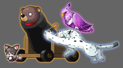 09 遇到難纏的對手,「幻獸師」與其他召喚獸會將巨熊波波塞進大砲中發射「一起丟熊!」,以強大的重力加速度擊潰敵人!
