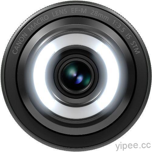 圖二 Canon正式推出全球首支EOS M數位相機專用EF-M輕巧微距鏡頭EF-M 28mm f3.5 Macro IS STM,首創內建環形補光燈自動對焦鏡頭,可手動調整補光燈亮度,光影捕捉更出色,完美掌握光影拍攝效果。