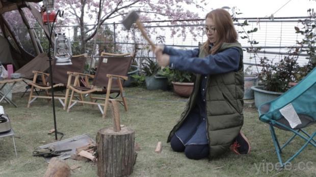 女力爆發,筱筱太太挑戰砍柴,拉拉山櫻花雨露營,手火煤油燈保養教學