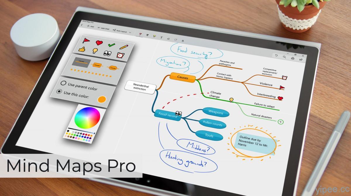 【限時免費】Windows 專用「Mind Maps Pro」心智圖、思維導圖 App 趕快下載!